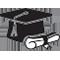צללית כובע סטודנט ותעודה-אייקון מורים מאמנים